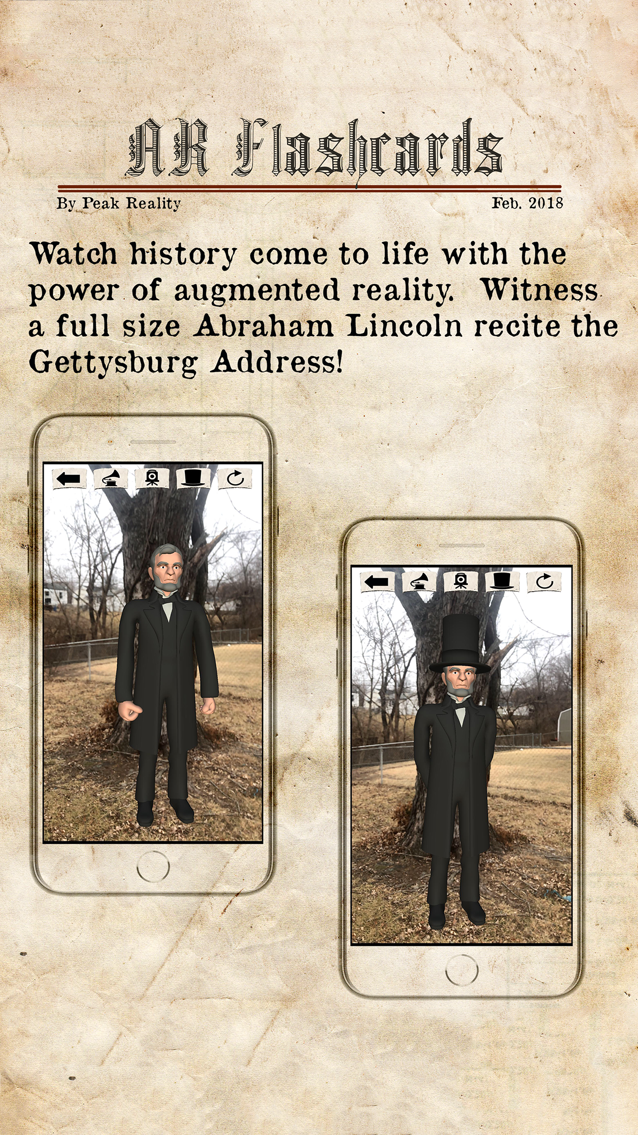 Peak Reality Releases Augmented Reality Abraham Lincoln Mobile App Image